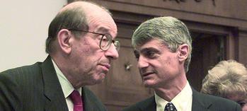 El histórico presidente de la Reserva Federal, Alan Greenspan y el secretario del Tesoro con Clinton, Robert Rubin.