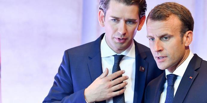 El canciller austriaco Sebastian Kurtz y el presidente francés Emmanuel Macron.
