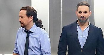 Pablo Iglesias y Santiago Abascal en uno de los debates televisivos electorales.