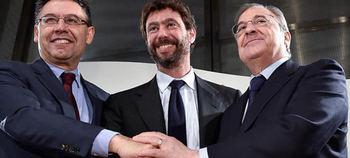 Florentino Pérez, Andrea Agnelli y el ex presidente del Barça, Bertomeu, iniciaron las conversaciones para hacer la SuperLiga.