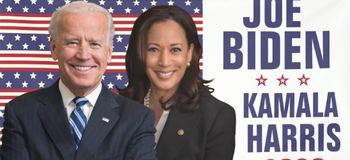 Joe Biden y Kamala Harris en un poster de la campaña.
