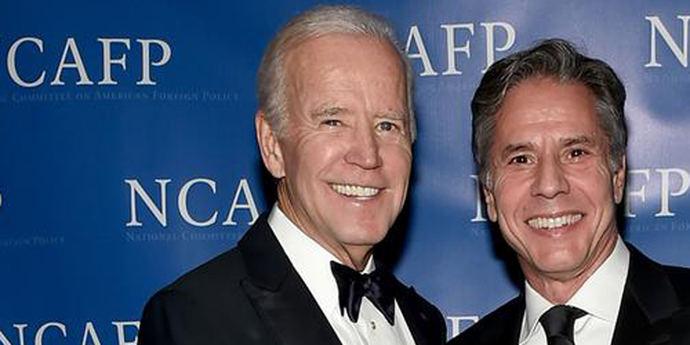 Joe Biden y Antony Blinken en un acto del Comité Nacional de Política Exterior Estadounidense (NCAFP)