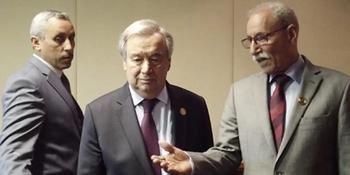 El presidente de la República Saharahui, Brahim Gali, con el secretario general de la ONU, Antonio Guterres.