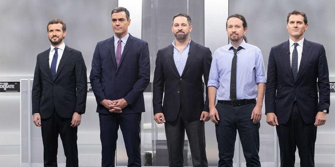 Pablo Casado, Pedro Sánchez, Santiago Abascal, Pablo Iglesias y Albert Rivera, en un debate electoral.