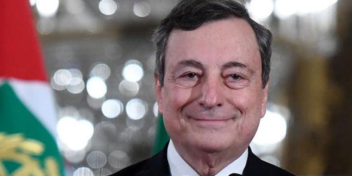 Mario Draghi en su toma de posesión como primer ministro de Italia.