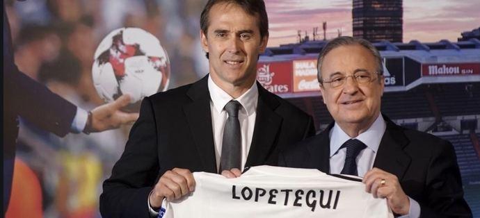 Florentino Pérez presentó a Lopetegui como entrenador en pleno Mundial de Rusia en 2018.