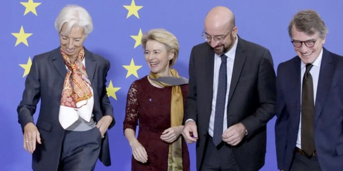 Los líderes de la UE: Christine Lagarde (BCE), Ursula von der Leyen (Comisión Europea), Charles Michel (Consejo Europeo) y David Sassoli (Parlamento)