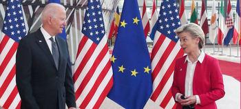 Joe Biden con la presidenta de la Comisión Europea, Ursula von der Leyen.