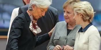 Christine Lagarde con Angela Merkel y Ursula von der Leyen.
