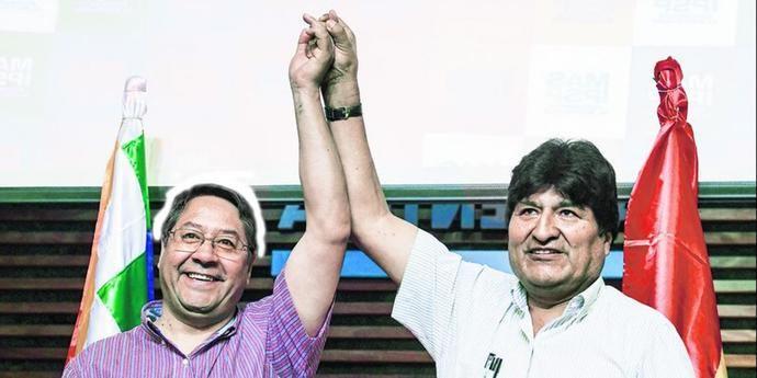 Luis Arce y Evo Morales en una foto de archivo.