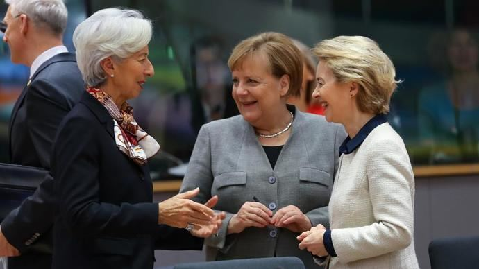 Christine Lagarde, Angela Merkel y Ursula von der Leyen.
