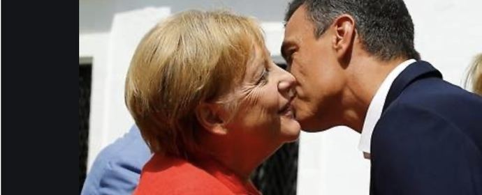 Angela Merkel con Pedro Sánchez.
