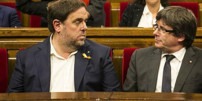 Oriol Junqueras y Carles Puigdemont cuando gobernaban juntos.