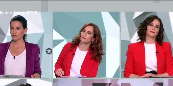 Rocío Monasterio, Mónica García e Isabel Díaz Ayuso en el debate elctoral de Telemadrid.