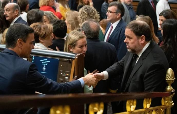 Oriol Junqueras y Pedro Sánchez en el Congreso.