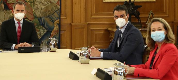 Pedro Sánchez y Nadia Calviño presentaron al Rey Felipe VI el Plan de Recuperación Económica.