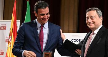 Pedro Sánchez y Mario Draghi en Barcelona.