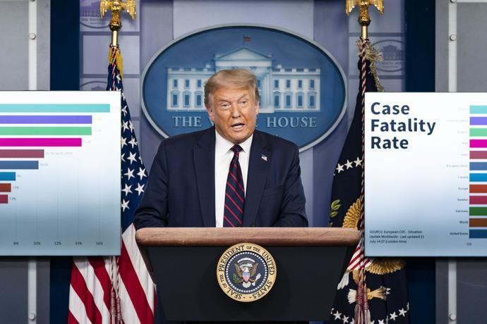 Donald Trump en su última rueda de prensa sobre el Covid-19.